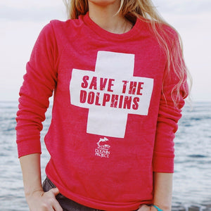save the dolphins red unisex sweatshirt
