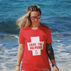 save the dolphins lifeguard tee womens