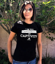 Load image into Gallery viewer, black tee I am not captivated by captivity graphic