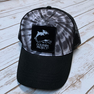 Black Tie Dye Foam Trucker Hat with Square Black Logo Patch