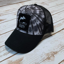 Load image into Gallery viewer, Black Tie Dye Foam Trucker Hat with Square Black Logo Patch