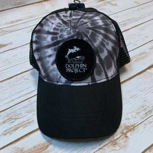 Black Tie Dye Foam Trucker Hat with Round Black Logo Patch