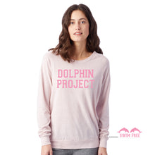 Load image into Gallery viewer, pink varsity dolphin project pullover sweater