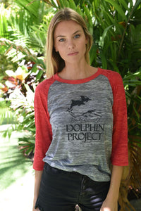 red raglan baseball tee dolphin project graphic