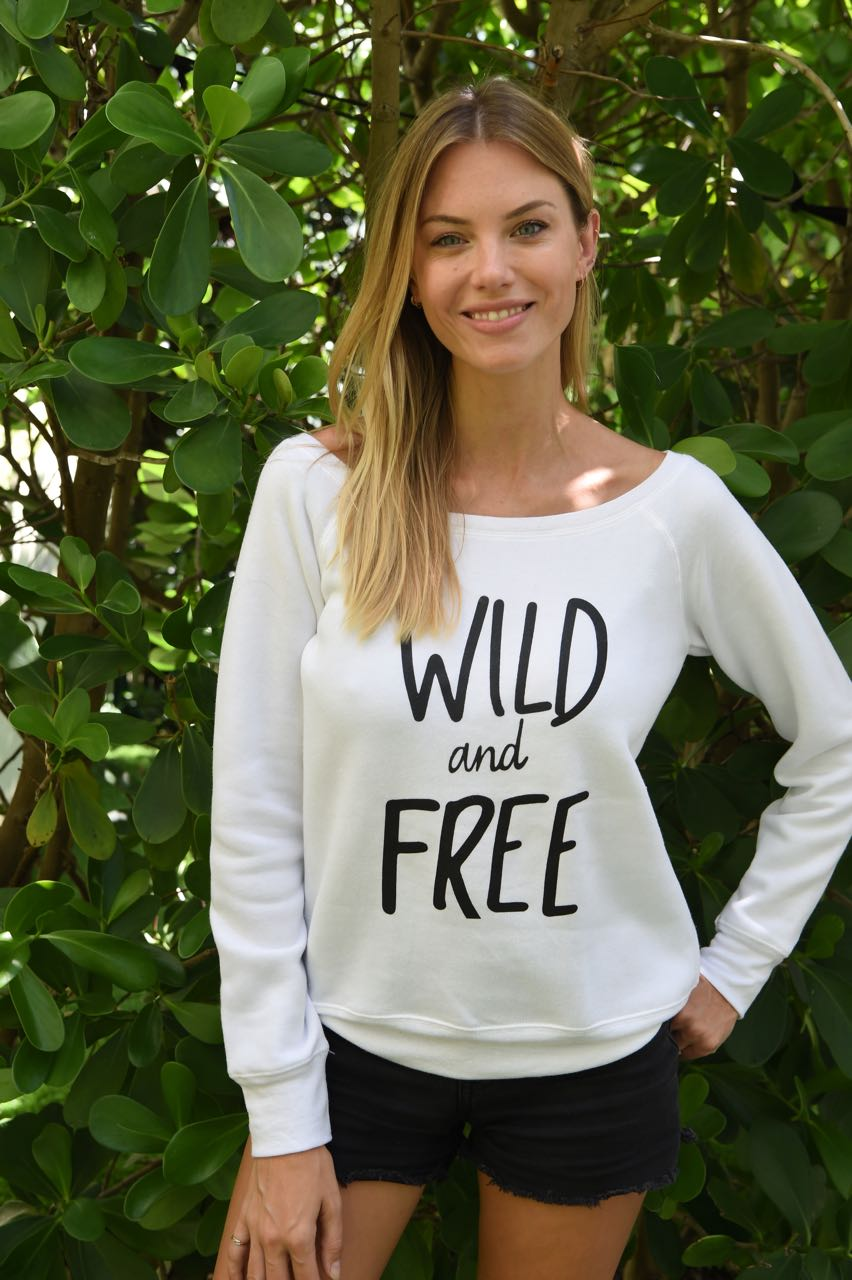 white wild and free ladies sweatshirt