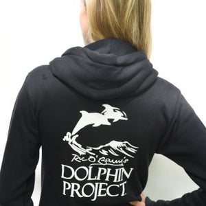 thanks but no tanks hoodie back with dolphin project logo