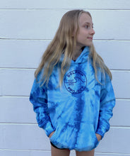 Load image into Gallery viewer, dolphin project youth blue tie dye hoodie