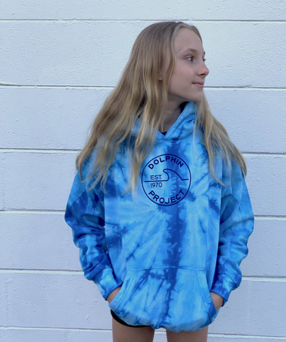 dolphin project youth blue tie dye hoodie