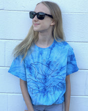 Load image into Gallery viewer, kids blue tie dye tee dolphins