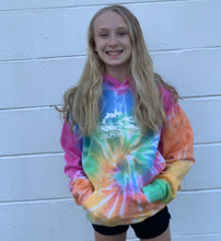Load image into Gallery viewer, kids rainbow tie dye hoodie dolphin project