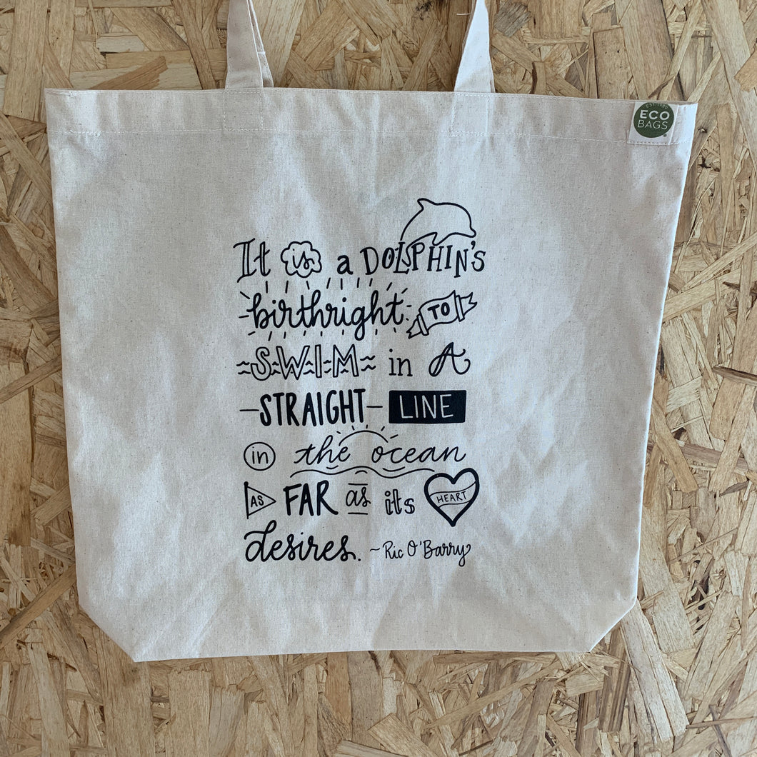 dolphin birthright quote tote bag