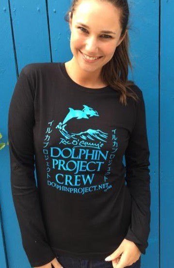 black and teal dolphin project crew long sleeve tee