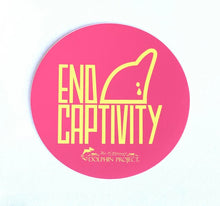 Load image into Gallery viewer, end dolphin captivity pink and yellow sticker