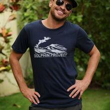 Load image into Gallery viewer, dolphin project navy blue vintage tee