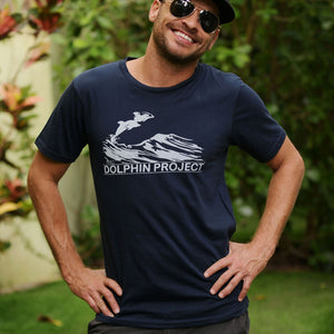 dolphin project navy blue vintage tee