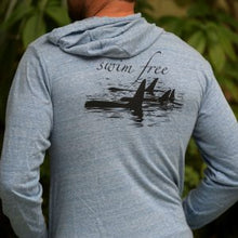 Load image into Gallery viewer, Swim free orca hoodie back design blue