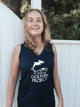 Load image into Gallery viewer, black sleeveless athletic top dolphin project