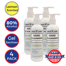 Load image into Gallery viewer, Area Labs Hand Cleanser Gel w/ Lemon Scent in 8oz Pump Bottle (4-pack)