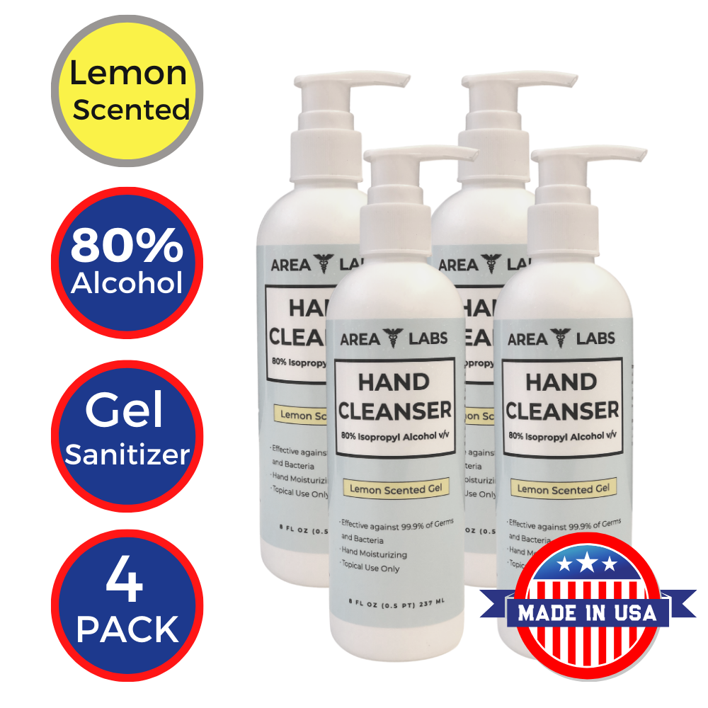 Area Labs Hand Cleanser Gel w/ Lemon Scent in 8oz Pump Bottle (4-pack)