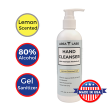 Load image into Gallery viewer, Area Labs Hand Cleanser Gel w/ Lemon Scent in 8oz Pump Bottle