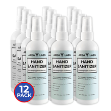 Load image into Gallery viewer, Area Labs Hand Sanitizer Liquid in 8 oz Spray Bottle (12-pack)