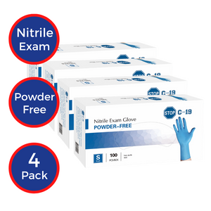 Powder Free Nitrile Exam Gloves (4-pack)