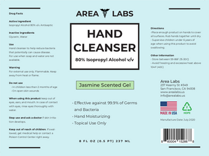 Area Labs Hand Cleanser Gel w/ Jasmine Scent in 8oz Disc-cap Bottle (2-pack)