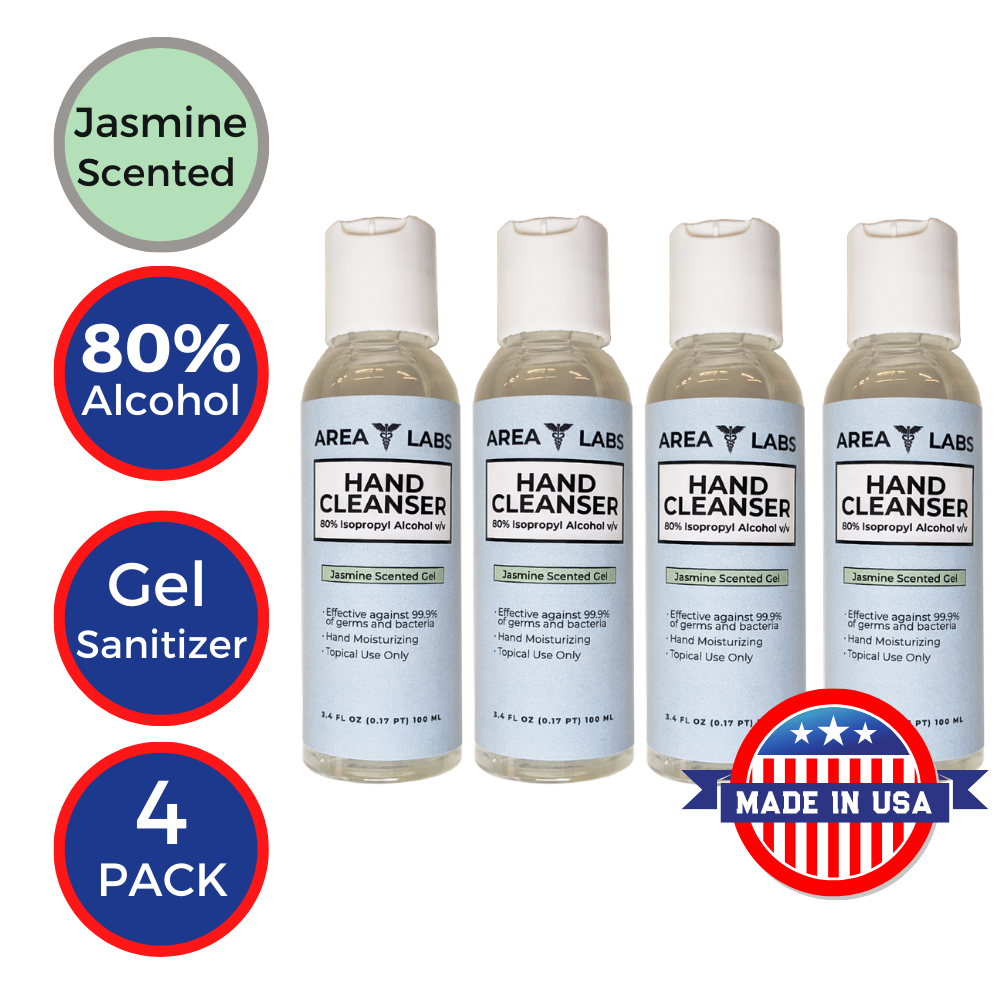 Area Labs Hand Cleanser Gel w/ Jasmine Scent in 3.4oz Travel Bottle (4-pack)