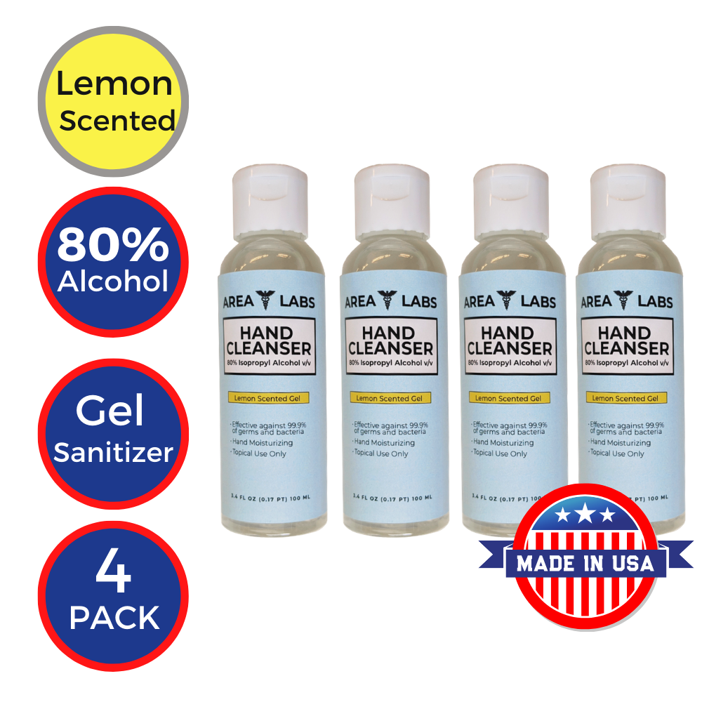 Area Labs Hand Cleanser Gel w/ Lemon Scent in 3.4oz Travel Bottle (4-pack)