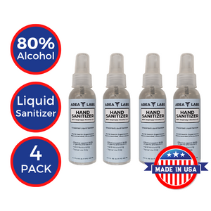 Area Labs Hand Sanitizer Liquid in 3.4 oz Travel Bottle (4-pack)