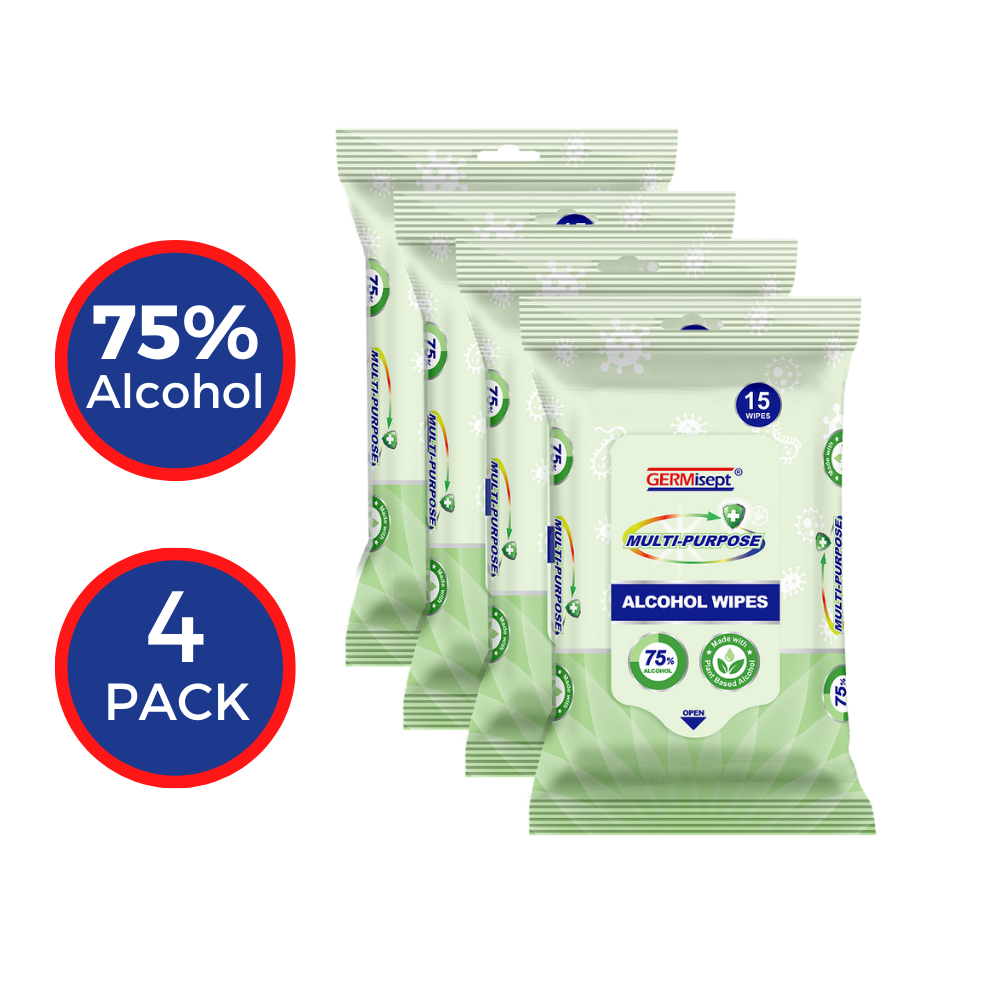 GERMisept Multi-Purpose 75% Alcohol Wipes 15 Count (4-pack)