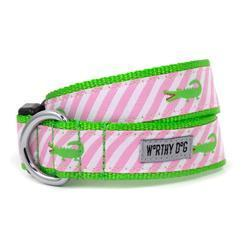 The Worthy Dog Collars - Pink Stripe Alligator