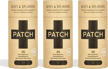 PATCH Activated Charcoal Adhesive Bandages - Tube of 25 x 3