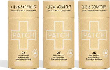 PATCH Natural Adhesive Bandages - Tube of 25 x 3
