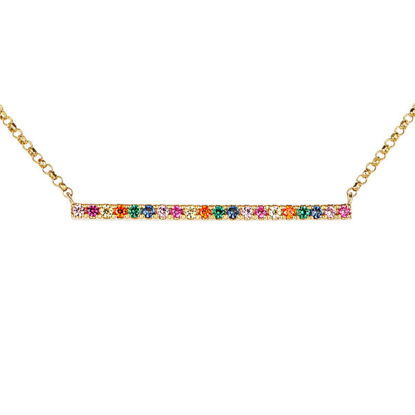 Atelier All Day 14K Multi-Color Crystal Bar Pendant