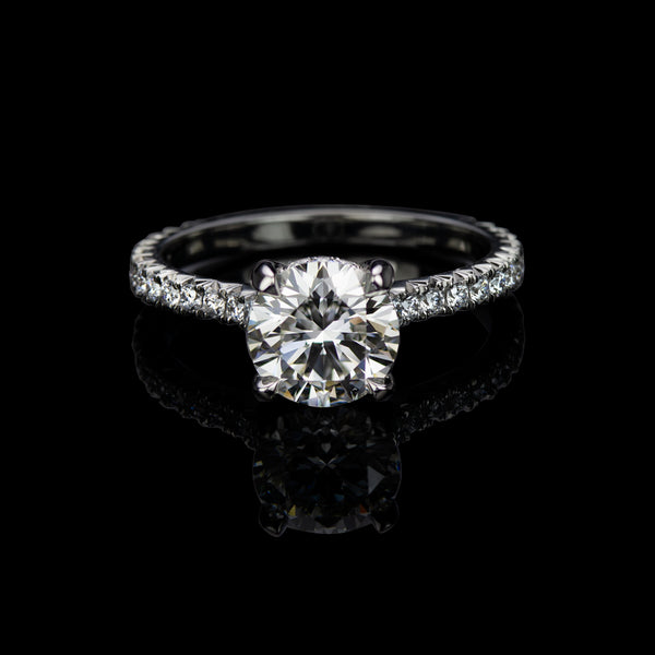 Labyrinth Diamonds 14K Gold Hidden Halo Round French Pave Solitaire Ring - Round