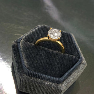 Labyrinth Diamonds 14K Gold Round Hidden Halo Diamond Solitaire Ring