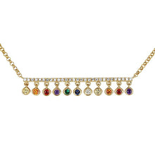 Load image into Gallery viewer, Atelier All Day 14K Gold & Diamond Bar with Multi-Color Drops Necklace