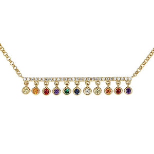 Atelier All Day 14K Gold & Diamond Bar with Multi-Color Drops Necklace
