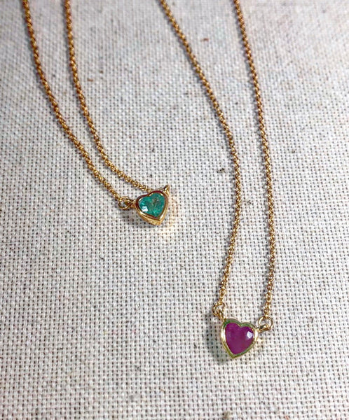 Atelier All Day 14K Gold & Precious Emerald Heart Pendant