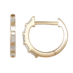"Atelier All Day 14K ""Diamond"" CZ Baguette Huggie Hoops"