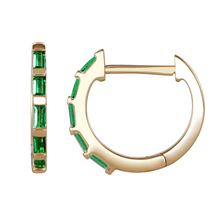 "Load image into Gallery viewer, Atelier All Day 14K ""Emerald"" CZ Baguette Huggie Hoops"