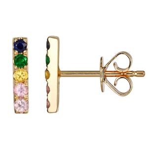 Atelier All Day 14K Summer Hues CZ Bar Stud Earrings