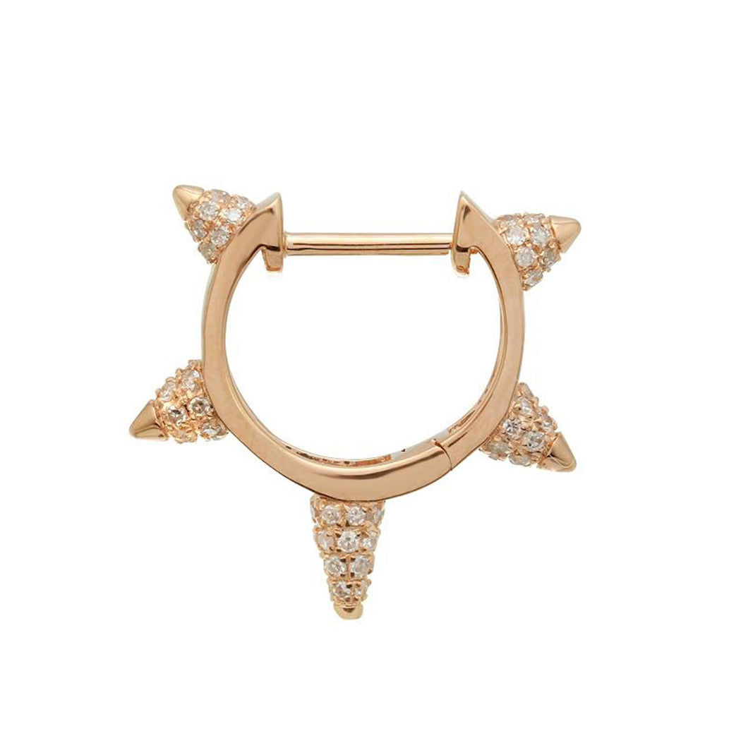 Atelier All Day 14K and Diamond Spiked Huggie Hoop (Single)