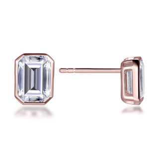 Labyrinth Diamonds Bezel Set Solitaire Diamond Earring Rose Gold - Emerald
