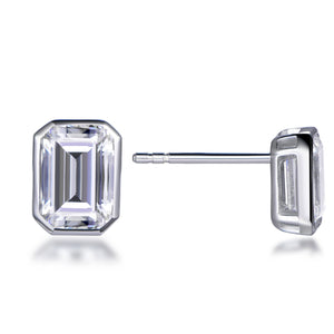 Labyrinth Diamonds Bezel Set Solitaire White Gold Diamond Earring - Emerald