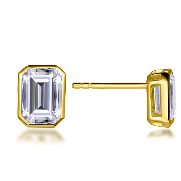 Labyrinth Diamonds Bezel Set Solitaire Diamond Earring - Emerald Yellow Gold