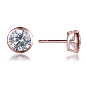 Labyrinth Diamonds Rose Gold Bezel Set Solitaire Diamond Earring - Round