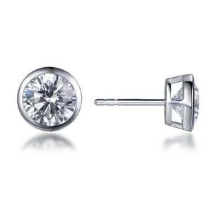 Labyrinth Diamonds Bezel Set Solitaire Diamond Earring - Round