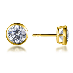 Labyrinth Diamonds Yellow Gold Bezel Set Solitaire Diamond Earring - Round
